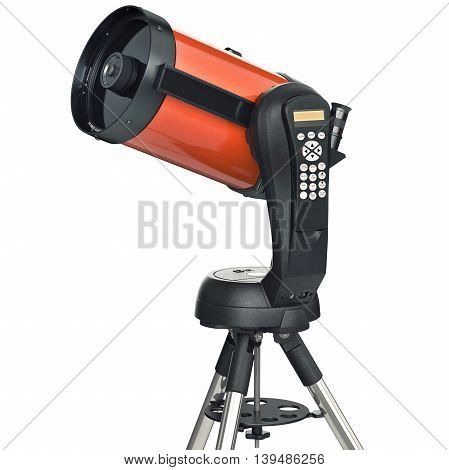 Telescope optical device for professional astronomy. 3D graphic