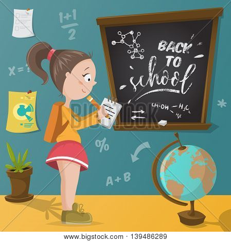 Back to school. Schoolgirl, chalkboard and school supplies. Funny cartoon character. Vector illustration