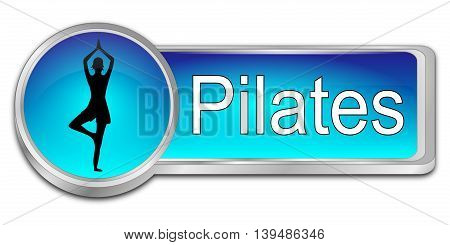blue Pilates button on White Background - 3D illustration