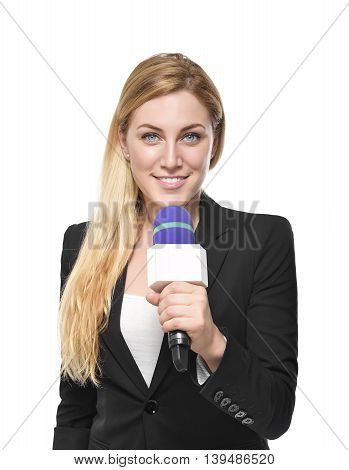 Attractive blonde TV presenter holding a microphone. Isolated on white background.
