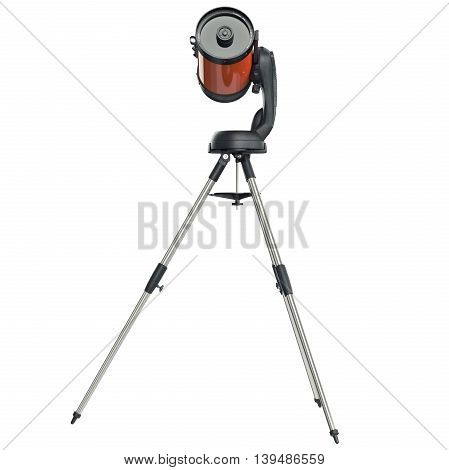 Telescope catadioptric on chrome tripod, side view. 3D graphic