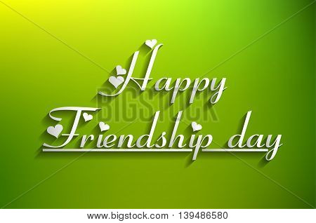 happy friendship day text isolated on a green background
