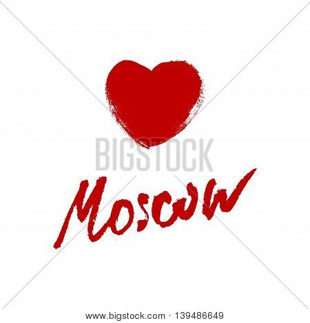 Moscow city name hand-lettering calligraphy. Premium Handmade vector Lettering.