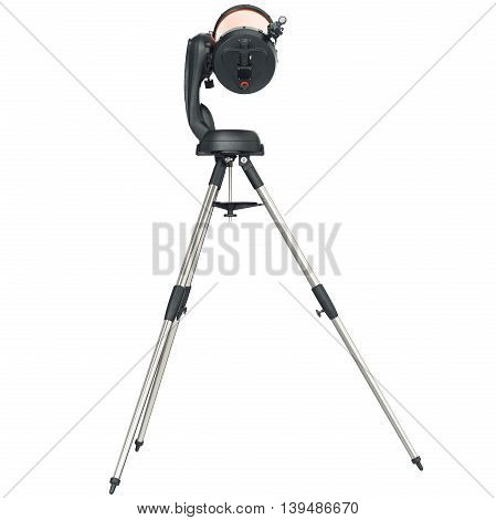 Telescope on tripod with chrome metal elements, back view. 3D graphic