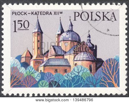 MOSCOW RUSSIA - CIRCA FEBRUARY 2016: a post stamp printed in POLAND shows Cathedral in Plock the series