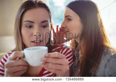 Young woman whispering to female friend at cafe