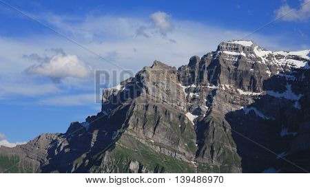 Mt Glarnisch high mountain in Glarus Canton Switzerland.