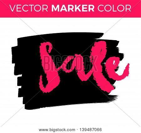 Sale lettering, black Friday sale black tag, banner, advertising, vector illustration