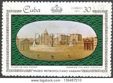 MOSCOW RUSSIA - CIRCA FEBRUARY 2016: a post stamp printed in CUBA shows Plaza de San Pedro the series