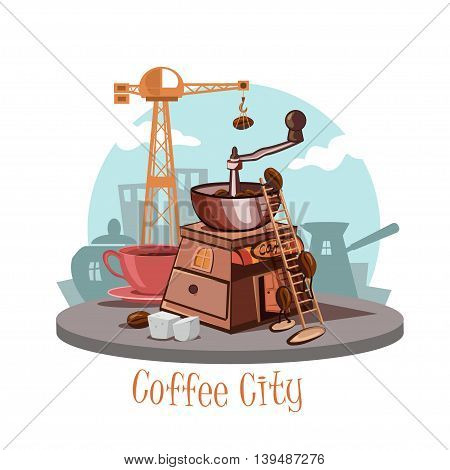 Banner with a coffee grinder and coffee beans a cup of fresh coffee