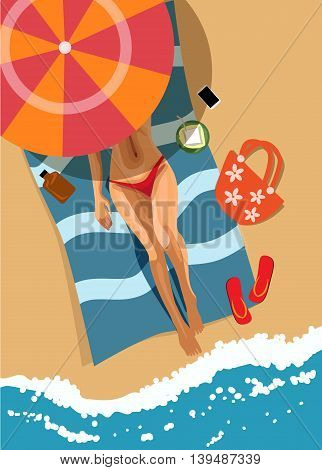 Woman on beach. Top view. Vector illustration.