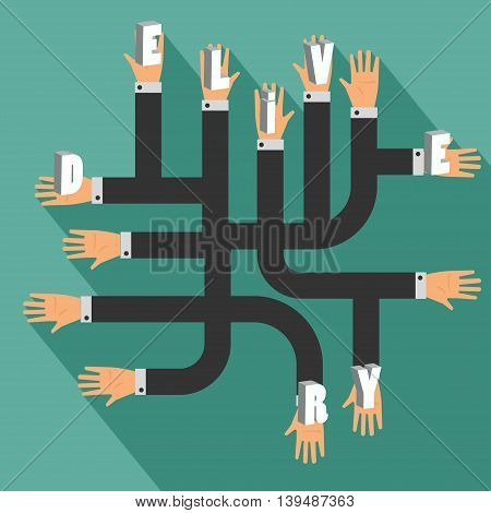 Many Hands, Business Concept Delivery. Vector Illustration