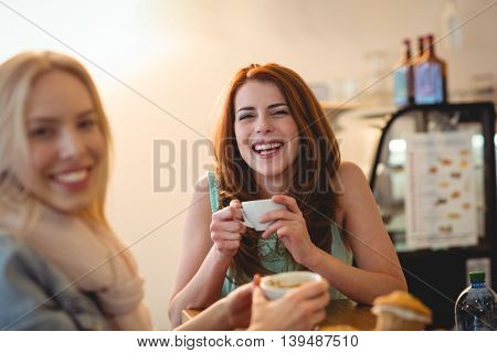 Portrait of cheerful beautiful young female friends at coffee shop