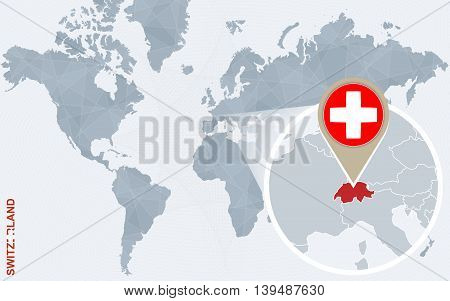 Abstract Blue World Map With Magnified Switzerland.