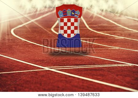 Red Running Track With Lines And Croatia Flag On Shirt