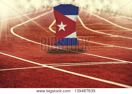 Red Running Track With Lines And Cuba Flag On Shirt