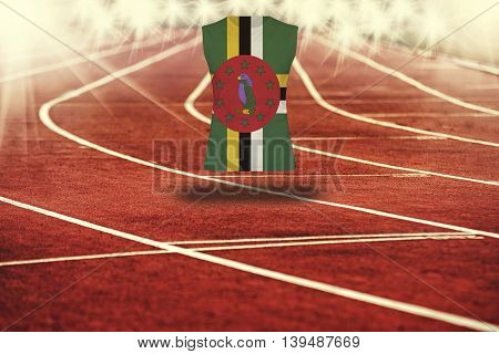 Red Running Track With Lines And Dominica Flag On Shirt