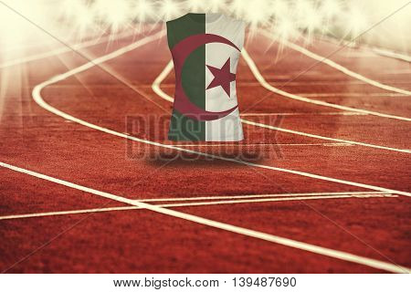 Red Running Track With Lines And Algeria Flag On Shirt
