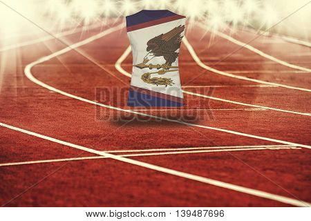 Red Running Track With Lines And American Samoa Flag On Shirt