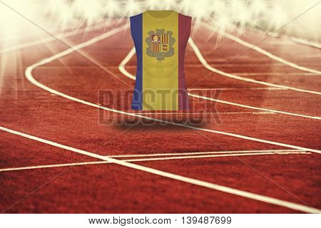 Red Running Track With Lines And Andorra Flag On Shirt
