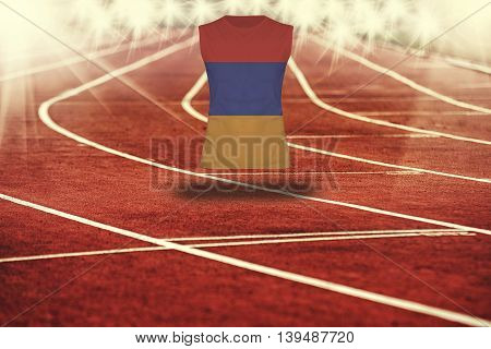 Red Running Track With Lines And Armenia Flag On Shirt
