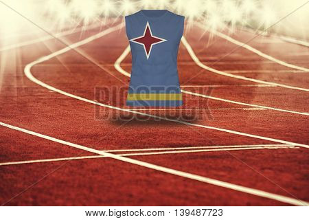 Red Running Track With Lines And Aruba Flag On Shirt