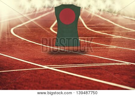 Red Running Track With Lines And Bangladesh Flag On Shirt