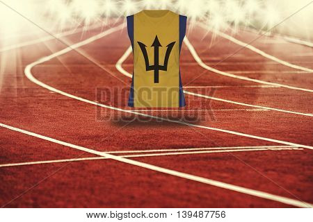 Red Running Track With Lines And Barbados Flag On Shirt