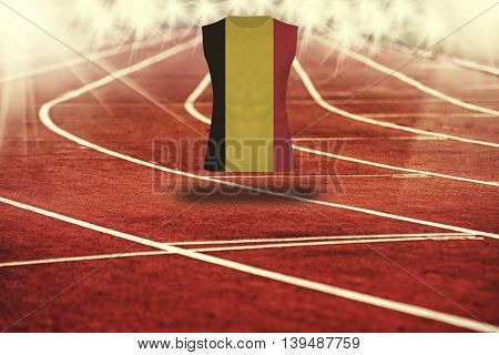 Ed Running Track With Lines And Belgium Flag On Shirt