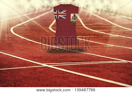 Red Running Track With Lines And Bermuda Flag On Shirt