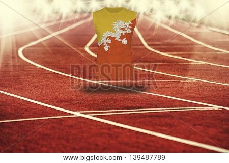 Red Running Track With Lines And Bhutan Flag On Shirt