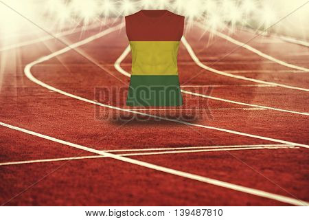 Red Running Track With Lines And Botswana Flag On Shirt