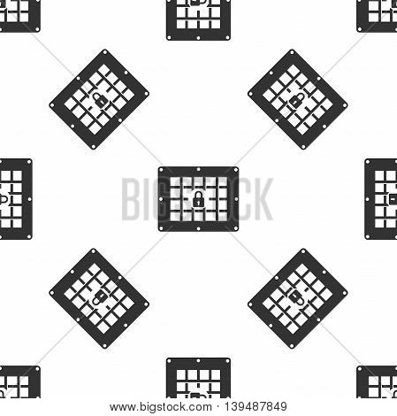 Prison window icon seamless pattern on white background. Vector Illustration