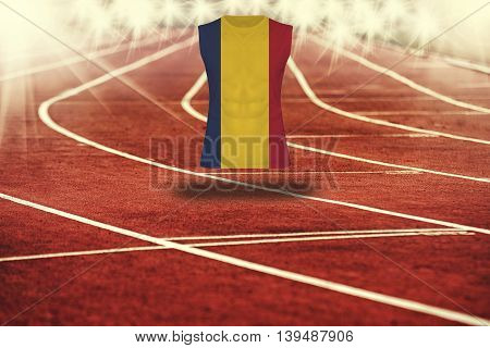 Red Running Track With Lines And Chad Flag On Shirt