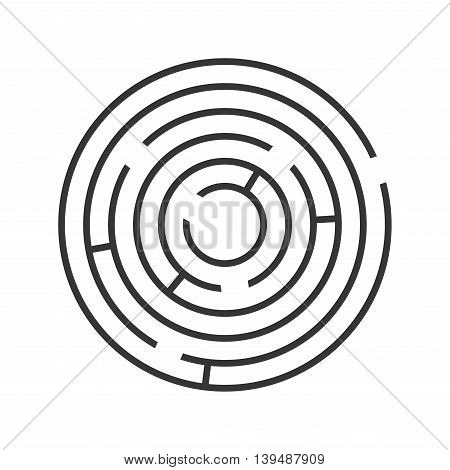 Circle Ring Maze on White Background. Vector illustration