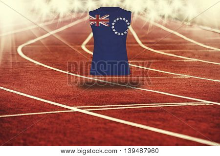 Red Running Track With Lines And Cook Islands Flag On Shirt