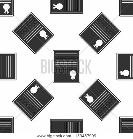 Certificate template icon seamless pattern on white background. Vector Illustration