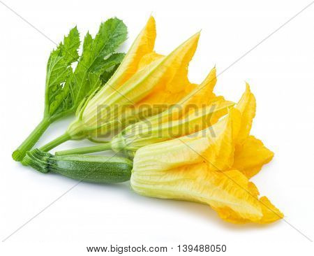 Zucchini flowers on a white background.