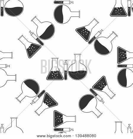 Laboratory glassware icon seamless pattern on white background. Vector Illustration