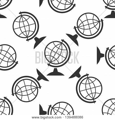 Geography earth globe icon seamless pattern on white background. Vector Illustration
