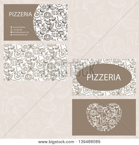 Hand Drawn Business Card Template For Pizzeria Business . Vector Illustration