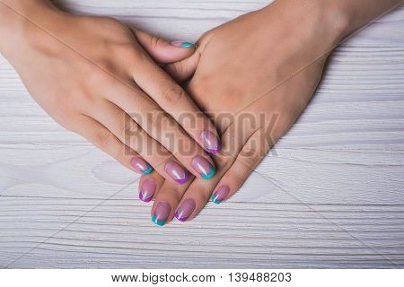 French Nail Art With Mint And Violet Lines