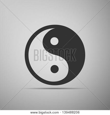 Yin Yang symbol icon on grey background. Adobe illustrator
