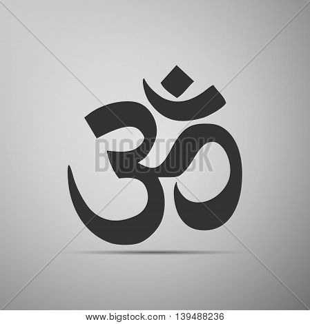 Sign Om. Symbol of Buddhism and Hinduism religions icon on grey background. Adobe illustrator