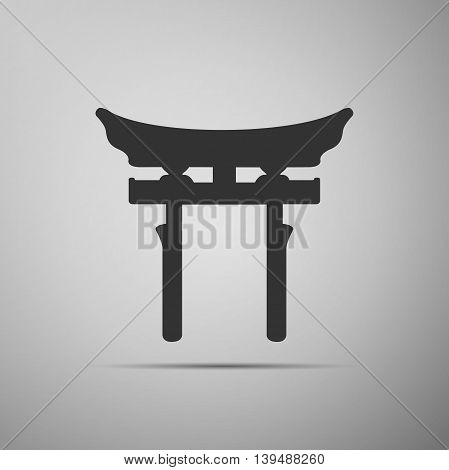 Japan Gate. Torii gate icon on grey background. Adobe illustrator