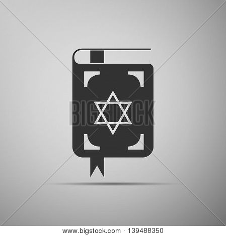 Jewish torah book icon on grey background. Adobe illustrator