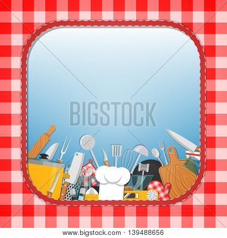 Cooking background. Lot of kitchen tool, utensil. Vector illustration