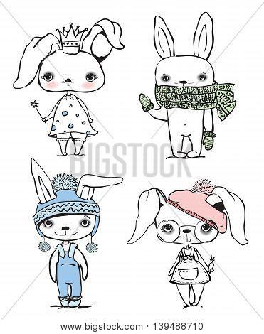 Fashionable hand drawn boys and girls rabbits