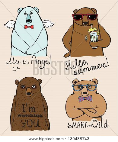 Set of 4 Vintage typography poster with super stylish bears