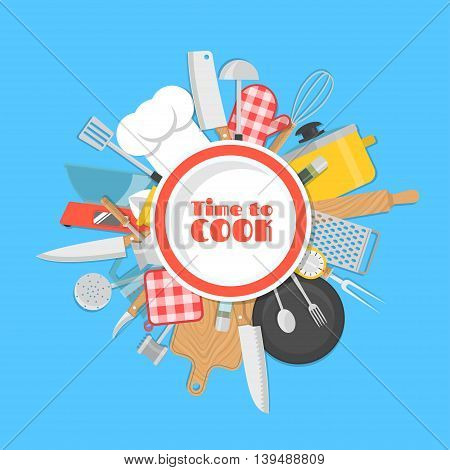 Cooking background. Lots of kitchen tools, utensils, cutlery under white plate. Vector illustration